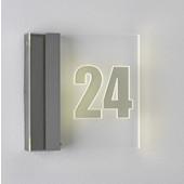 Hausnummernleuchte, LED, IP44, mit Dämmerungsschalter metallisch