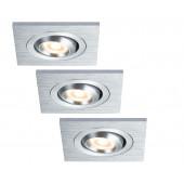 Premium Line Drilled 3er-Set 6 x 6 cm metallisch 1-flammig quadratisch