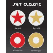 Dekorauflage - Classic - Star gold Ø 38 cm rot-gold rund