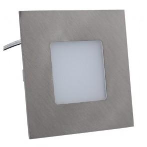 LED Panel, 75x75mm, warmweiß, Edelstahl-Optik