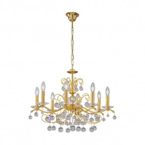 Carmen 2 Luster, 24 Karat Gold, Kristall, E14, 3234.88.3.KoT