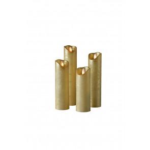 SHINE LED 4er Set gold schmal Echtwachs mit Timer und Fernbedienung