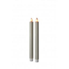 SHINE LED 2er Set Stabk, grau Echtwachs mit Timer und Fernbedienung