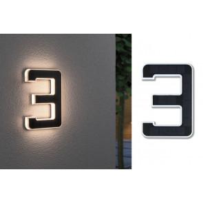 Outdoor Solar Hausnummer 3 Höhe 23 cm schwarz 1-flammig eckig