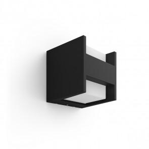 White Fuzo Wandleuchte quadratisch oben/unten schwarz 1150lm
