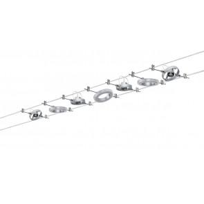 WireSystem HaloLED, 3x1,5W+max4x10W GU4 Chrom matt 230/12V 80VA Metall
