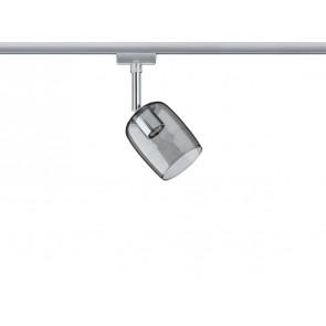 URail System Spot Blossom, max 1x10W G9 Chrom matt/Rauchglas 230V Metall/Glas